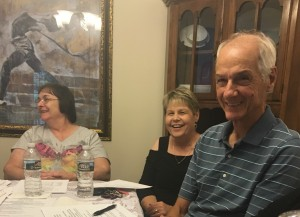 L-R Helen, Linda F, Vincent are delighted at Jackie Braddy Dempsey's Friday night Meet and Greet plans.